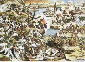 """""""Η μεγάλη μάχη των Σερρών"""", λιθογραφία του Σ. Χρηστίδη."""
